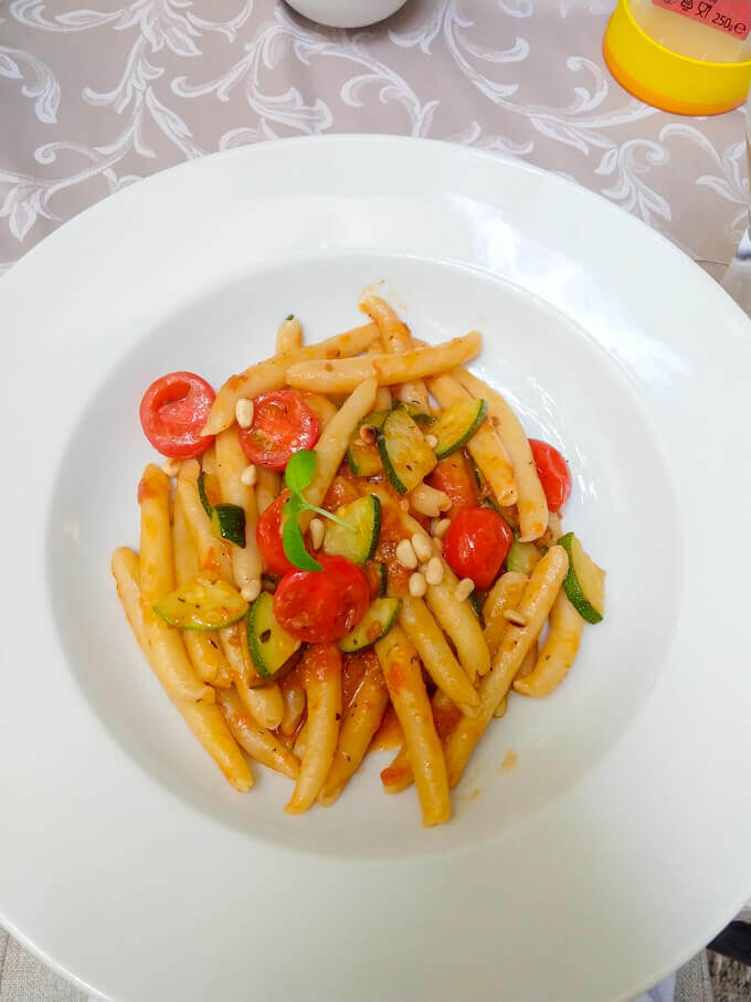 Pasta with Tomatoes, Pine Nuts, Zucchini and Basil in Trogir, Croatia