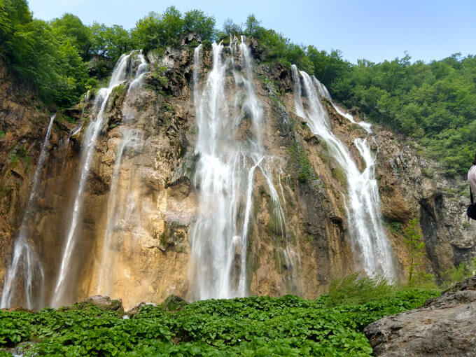 Big cliffside waterfalls in Plitvice Lakes National Park, Croatia