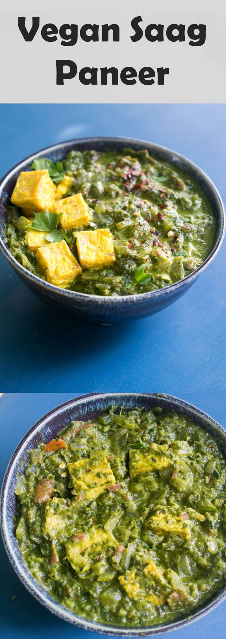 Vegan Saag Paneer. A creamy spinach or kale curry with tofu. You won't miss palak paneer with this dairy-free version that packs 17g of protein per serving.