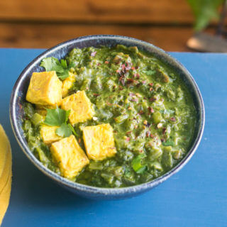 Vegan Saag Paneer with Tofu