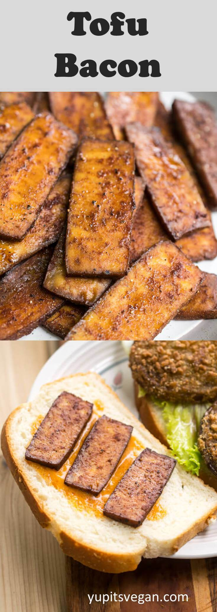 30-minute tofu bacon! A chewy, smoky, savory, high-protein vegan bacon substitute that's great on BLT sandwiches, in cooked dishes, and beyond! Vegetarian and refined sugar-free.