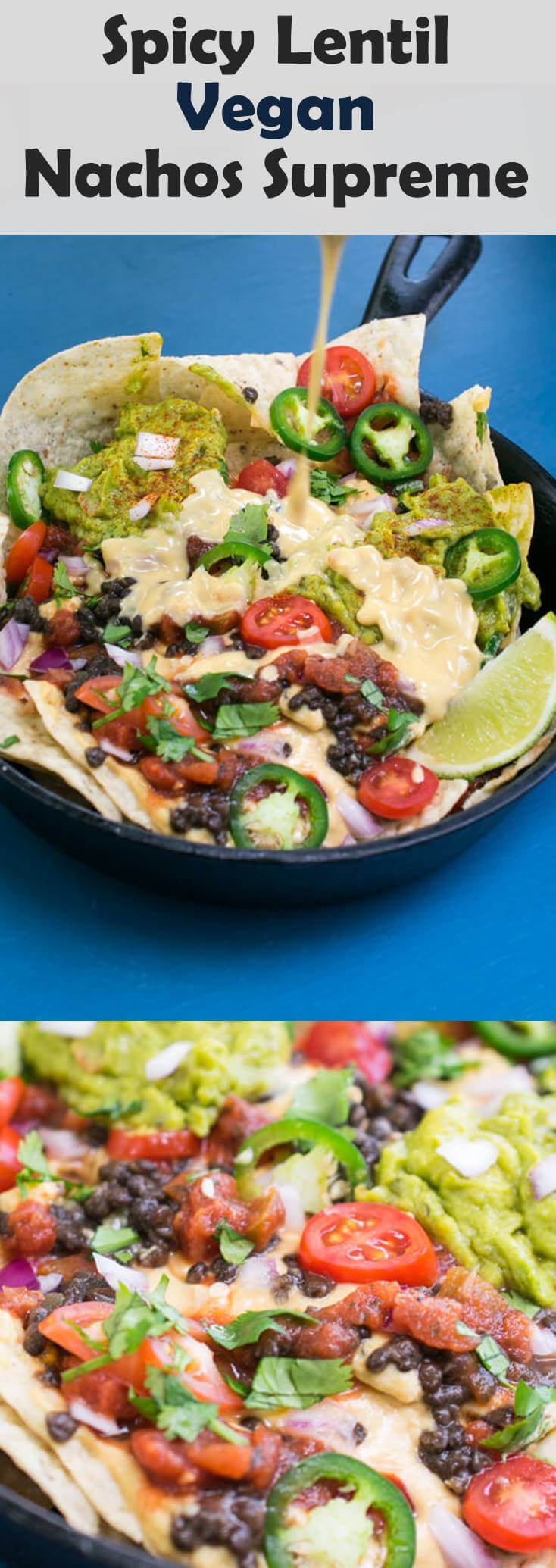 Vegan nachos platter with spicy lentils, salsa, homemade cashew queso, jalapenos, cilantro, red onion... in other words, the works! Amazing vegetarian dairy-free nachos made to your liking!