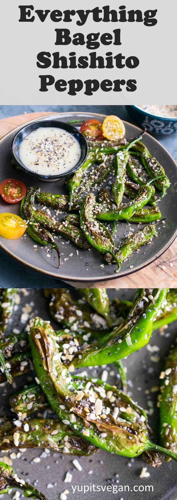 Everything Bagel Shishito Peppers: pan-char shishito peppers and then season them with everything bagel seasoning.
