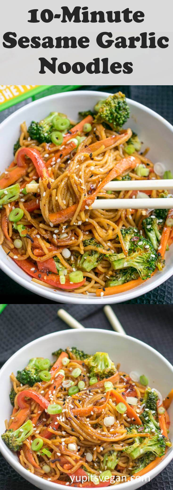 10-Minute Sesame Garlic Protein Noodles! Totally vegan, gluten-free, ready in 10 minutes of cooking, packed with protein, fiber, vitamins and veggies, and tastes better than takeout.