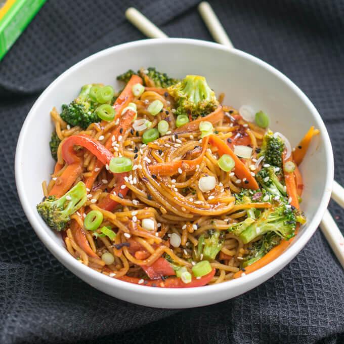 Garlic Sesame Noodles - Vegan, Gluten-free, High-Protein!