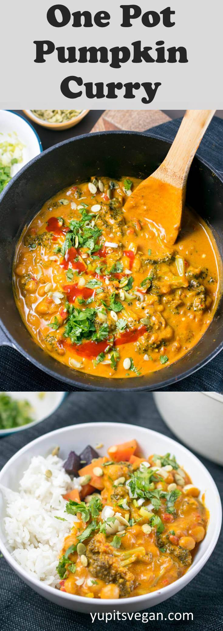 Easy One Pot Pumpkin Curry with chickpeas and broccoli. Mix and match other veggies and proteins in this flavorful Thai red curry that uses pumpkin puree for flavor, sweetness, and added nutrition. Naturally vegan, gluten-free, vegetarian, soy-free.
