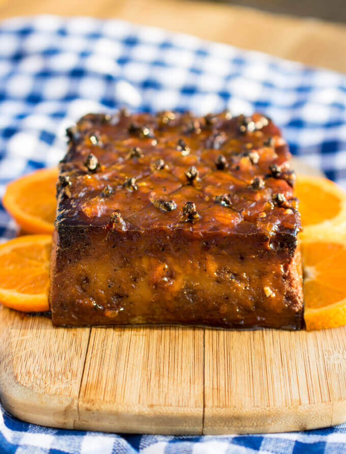 A holiday vegan ham made from glazed tofu and accented with cloves