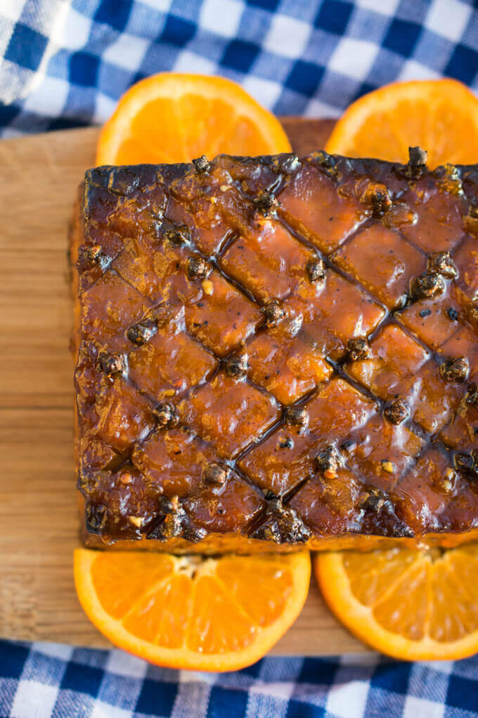 Smoky Glazed Tofu Infused with Cloves and Orange
