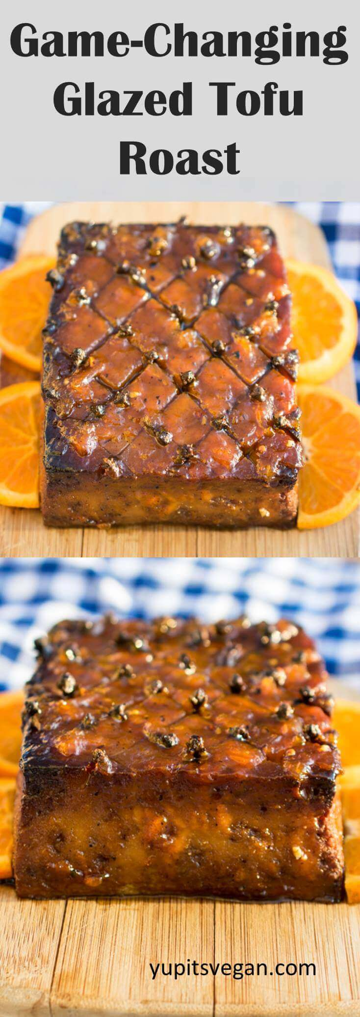 Glazed Tofu Roast | A marinated baked tofu centerpiece with orange glaze. This version of vegan ham is great for Thanksgiving, Christmas, or Easter. Naturally vegetarian, vegan and gluten-free.