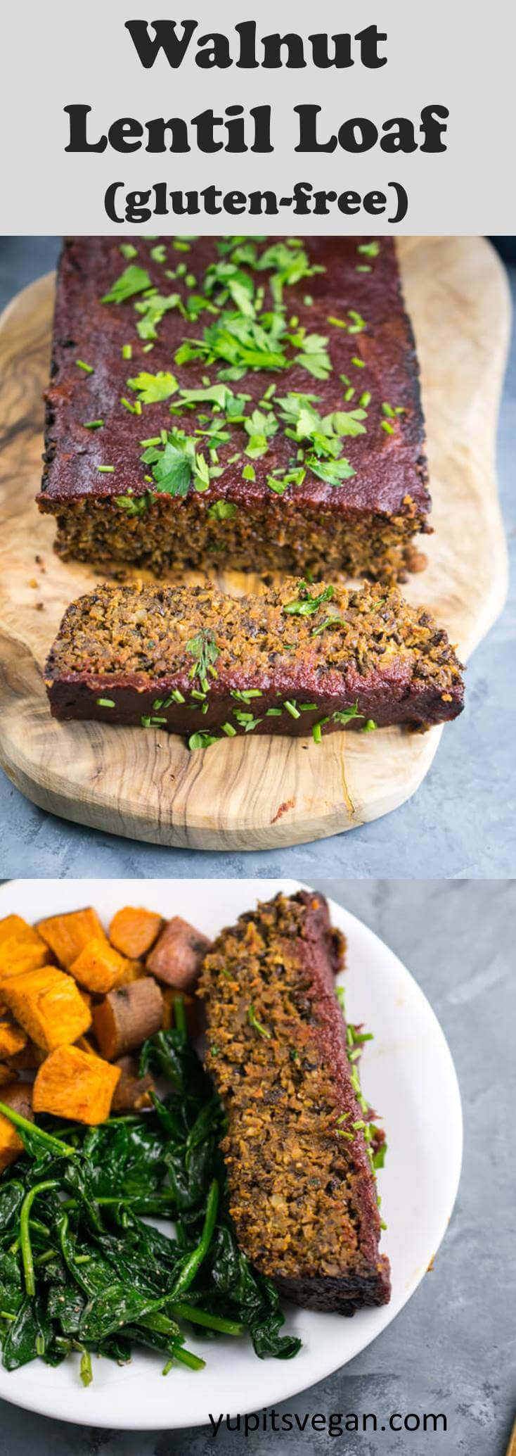 Walnut Lentil Loaf: A naturally gluten-free, vegan meatloaf option for Thanksgiving. Lentil loaf made with walnuts, lentils, chickpeas, rice, and savory seasoning with a tomato apple cider glaze.