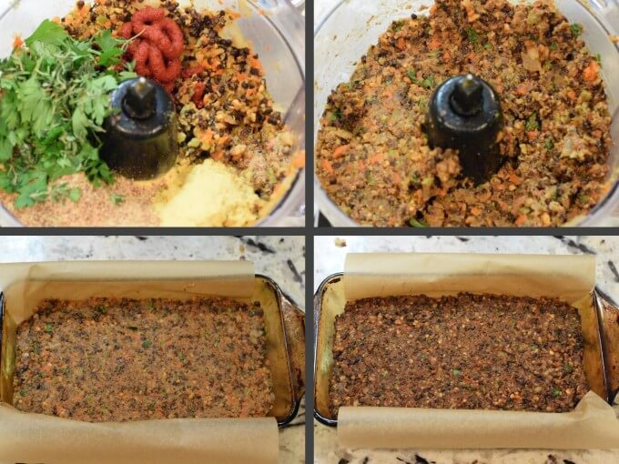 Collage of 4 steps in making a vegan gluten-free meatloaf: blending lentils, parsley, tomato paste, and seasoning in a food processor until soft, spreading into a loaf pan, and baking until firm.