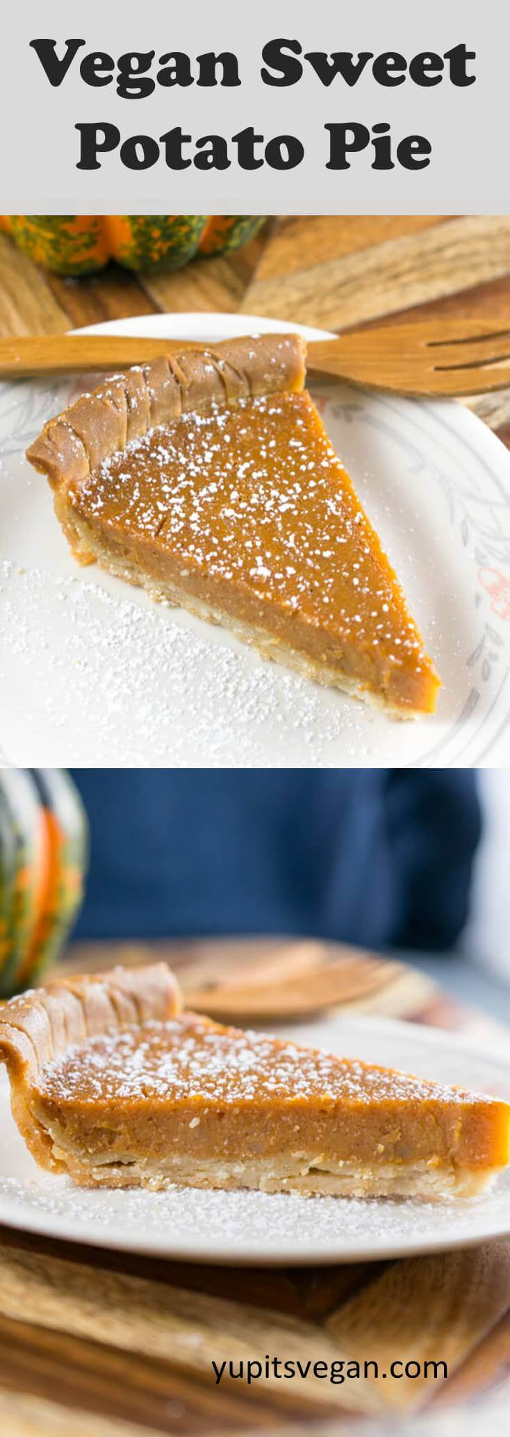 Vegan Sweet Potato Pie: A classic sweet potato pie that's also dairy-free and egg-free! Also gluten-free if GF crust is used. Creamy, subtly sweet and spiced. No tofu, no cashews, no coconut.