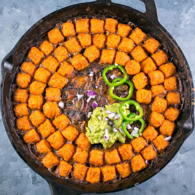 Sweet Potato Tater Tot Casserole (Hotdish) | Yup, it's Vegan