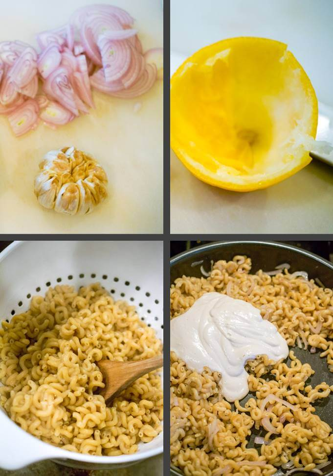 Steps to make vegan creamy lemon garlic pasta: sliced shallot and roasted garlic; a juiced lemon; cooked pasta; and adding creamy blended sauce to the pasta