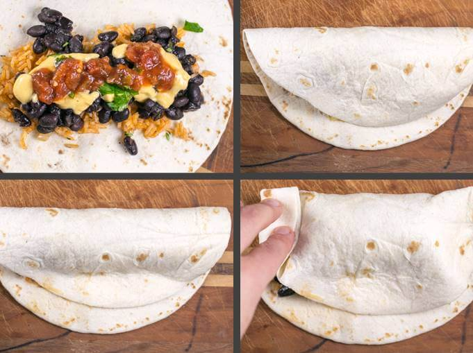 Step-by-step collage of filling, folding, and rolling a vegan burrito