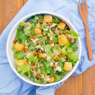Vegan Caesar Salad with Blackened Chickpeas | Yup, it's Vegan
