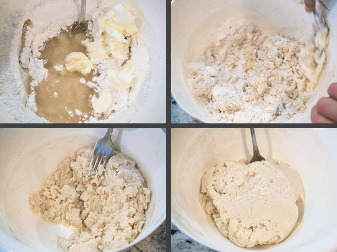 Steps for using the reverse creaming method in a vegan white cake or vegan vanilla cake: Adding the oil and shortening to the dry ingredients; mixing until crumbly; and continuing to mix until the texture looks like wet sand.