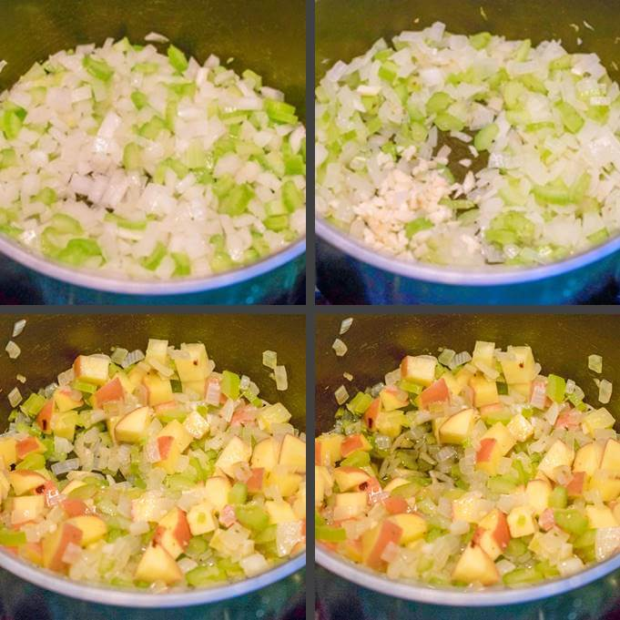 Steps for making vegan chowder soup base: sauteing onion and celery; adding garlic; adding potatoes; and deglazing with cognac