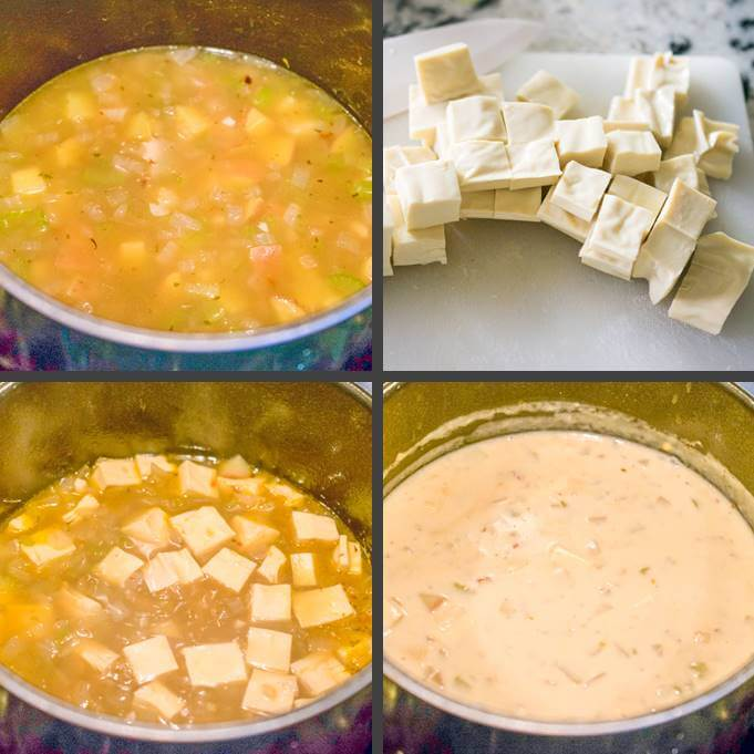 Steps for cooking vegan chowder: adding vegetable broth; cutting yuba pieces; adding yuba to the vegan clam chowder base; and adding the cashew cream mixture