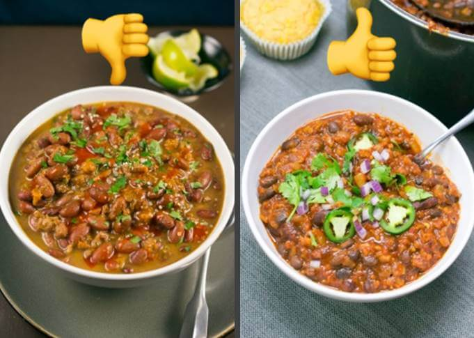 Image comparing canned Amy's chili side-by-side with homemade, showing that the homemade chili is clearly brighter, thicker and richer