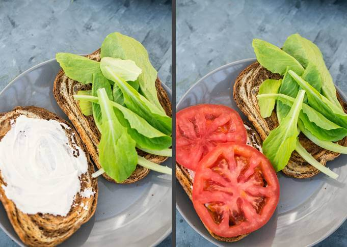 Steps for constructing a vegetarian BLT by spreading vegan garlic mayo on bread, and then layering it with lettuce and tomatoes