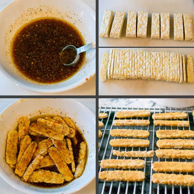 Steps for making tempeh bacon: mixing the marinade, slicing the tempeh into thin strips, mixing the tempeh into the marinade, and lining up the tempeh pieces on an oven rack.