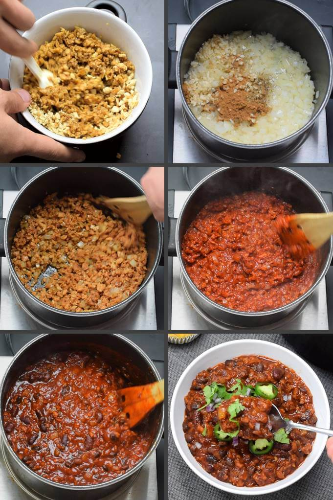 6 steps involved in making vegetarian chili con carne: rehydrating the TVP, adding spices and garlic to sauteed onions, frying the TVP with the onions, stirring in pureed chiles and tomato, and simmering with beans and beer.