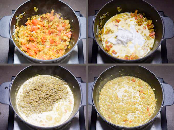 Grid of steps for making lentil curry: sauteing onions with tomatoes, adding coconut milk, adding cooked lentils, and simmering to thicken.