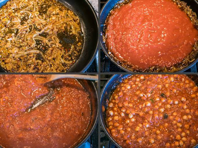 Additional steps for making chickpeas fra diavolo: deglazing with white wine; adding tomatoes; simmering tomatoes until thick; and stirring in the chickpeas