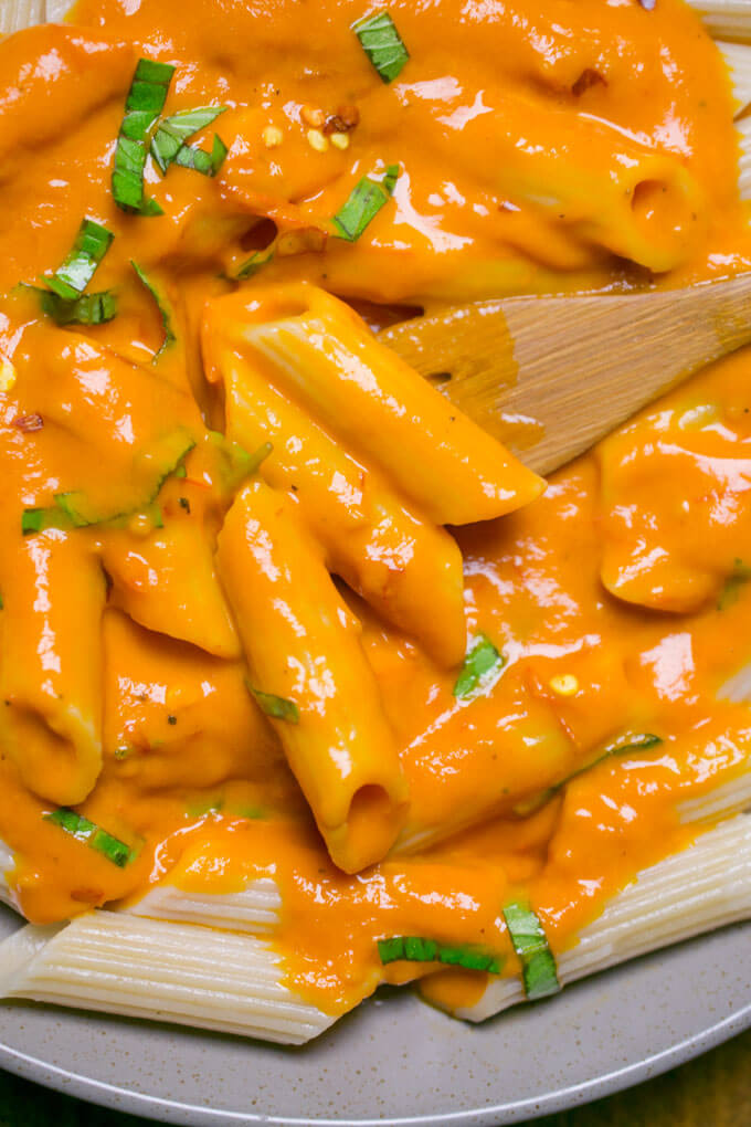 Close-up of penne tossed with rich, bright orange roasted tomato sauce