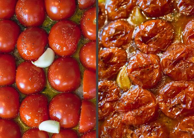 Side-by-side photo of sliced tomatoes and garlic cloves before and after roasting