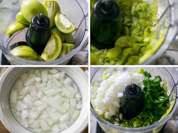 Steps for blending green tomato salsa: pulse charred green tomatoes into chunks, soak onions to remove their bitter flavor, then pulse the rest of the ingredients together to puree the salsa.