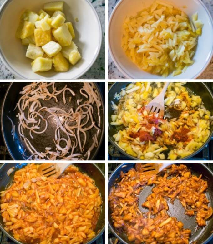 Step-by-step photos for making BBQ pulled pineapple. Shredding the pineapple, sauteing onions, adding pineapple and seasoning, and cooking until thickened.