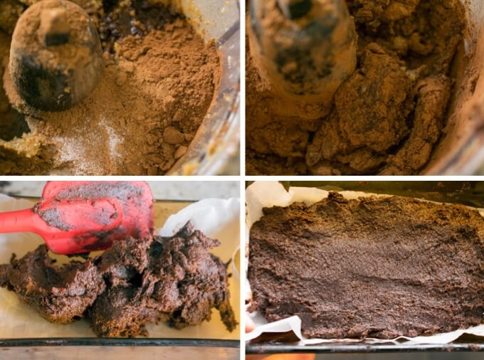 Blending walnut and date mixture with cocoa powder and vanilla until smooth and velvety, then spreading out into a baking dish to set