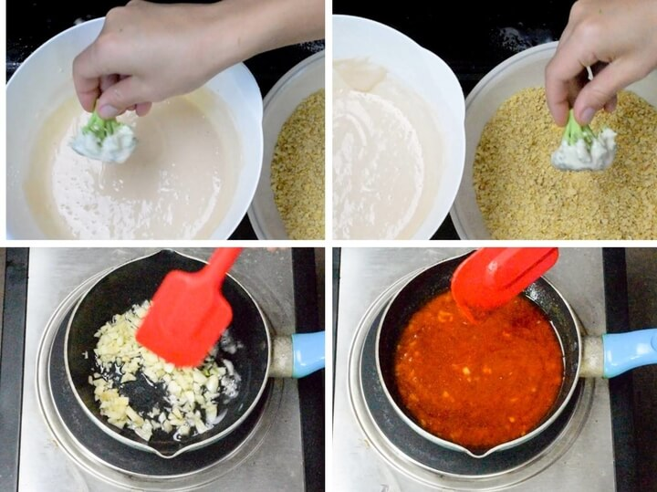 Process of dipping broccoli florets in batter, then breadcrumbs; and sauteeing garlic before mixing it with hot sauce.