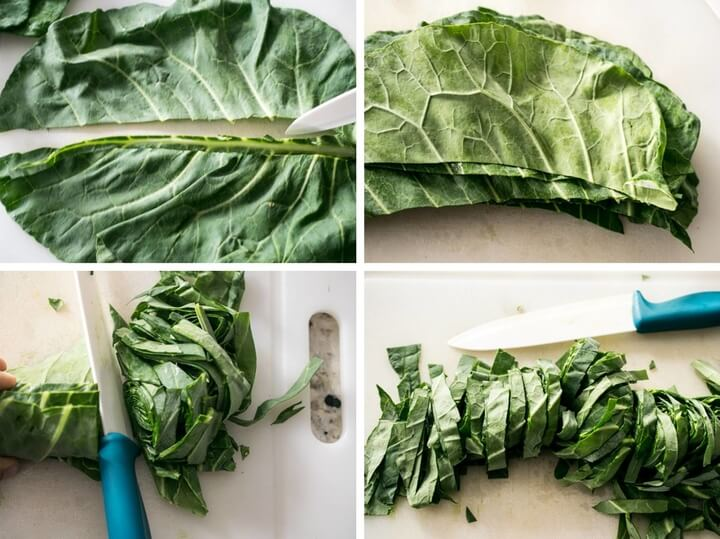 Collage showing how to trim and slice collard greens into strips