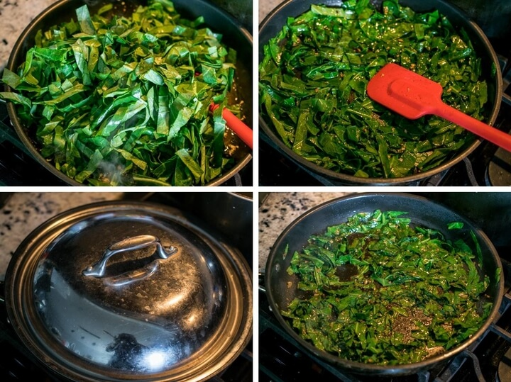 Collage showing shredded collard greens being added to a saute pan, then lightly steamed