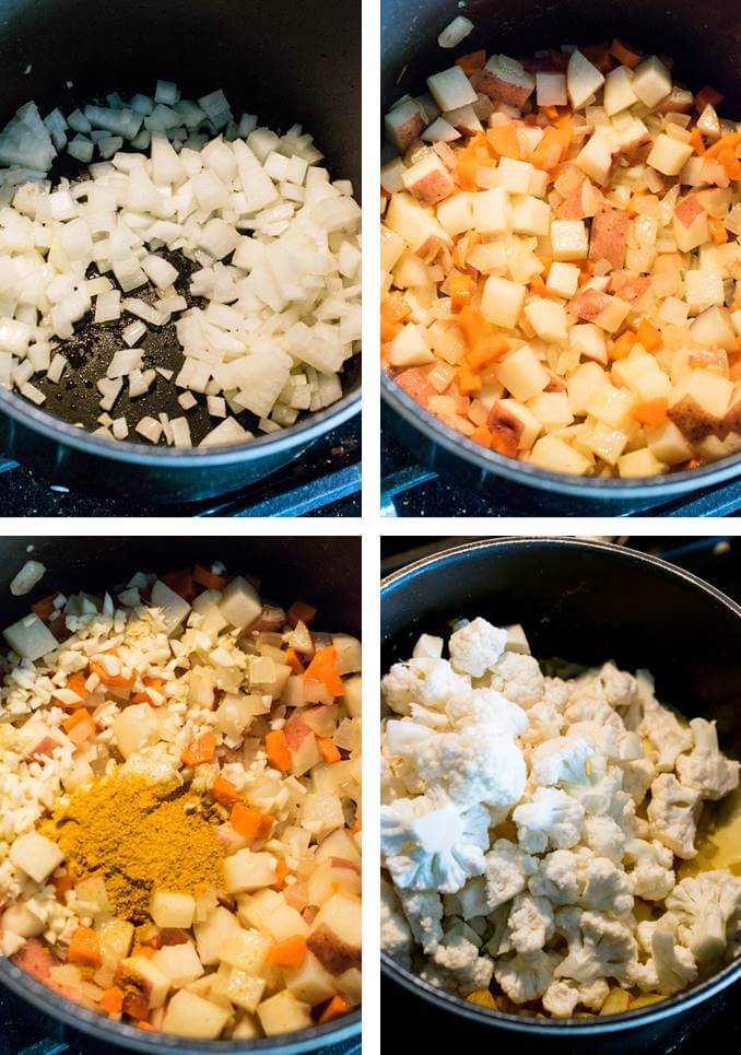 Collage of steps for making cauliflower chowder: Saute onion; add potato and carrot; stir in aromatics and spices to bloom them; and then add cauliflower to steam it.