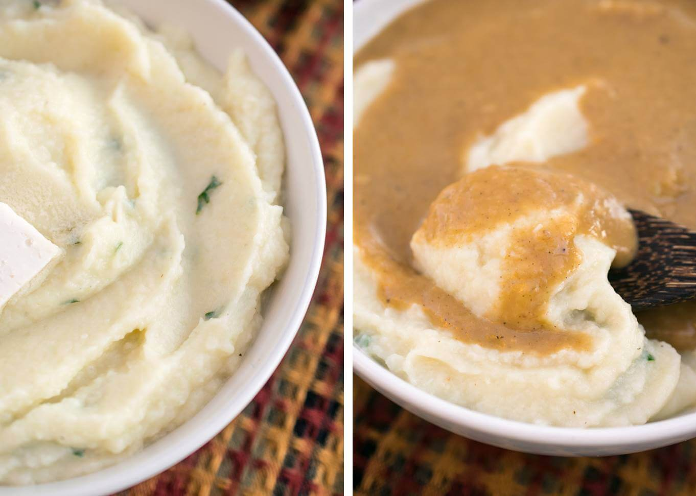 Close-up of cauliflower mashed potatoes with and without gravy, showing the creamy and light texture