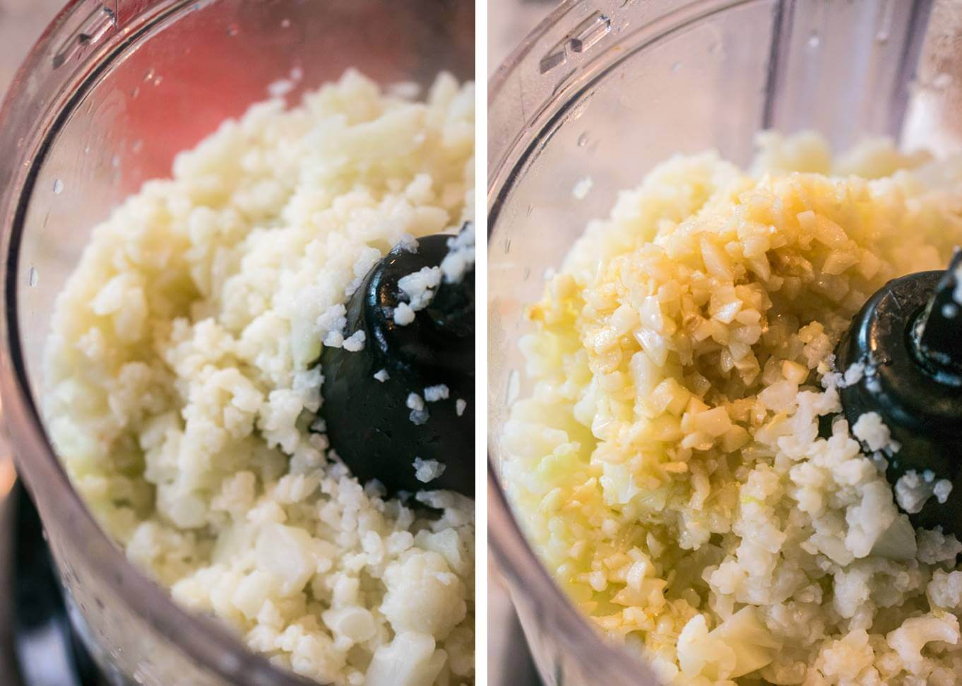 Cauliflower pieces and sauteed garlic being blended together in a food processor