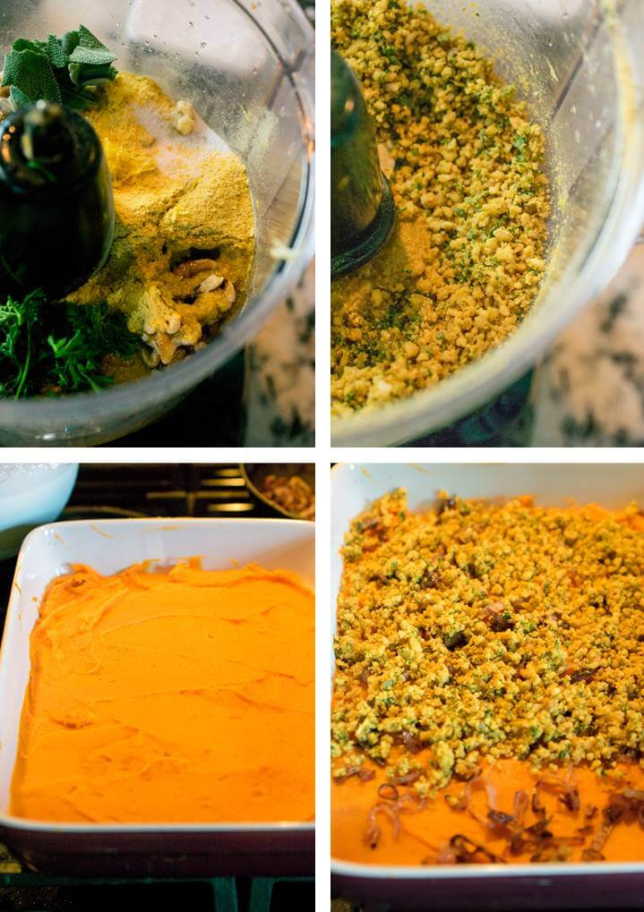 Collage of steps for making herbed walnut crumb topping in the food processor and then spreading it onto a layer of sweet potatoes in a casserole dish