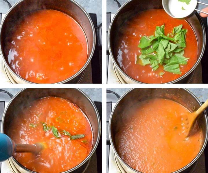 Collage of the finishing steps for making vegan tomato soup: simmer until thickened, stir in fresh basil, and then blend with an immersion blender until smooth and creamy.