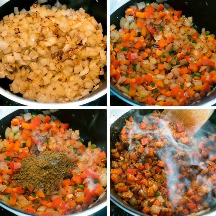 Steps for making quinoa chili: browning onions, adding garlic, peppers, and spices; and toasting the spices until fragrant.