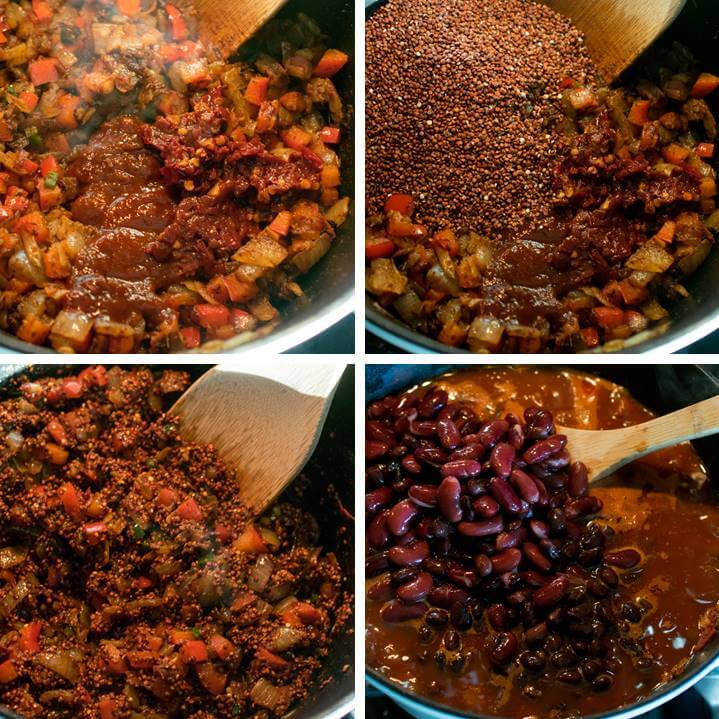 Steps for making quinoa chili: add chipotle peppers and dry quinoa to roast, then add tomatoes, liquid and beans to the pot, and simmer until tender.