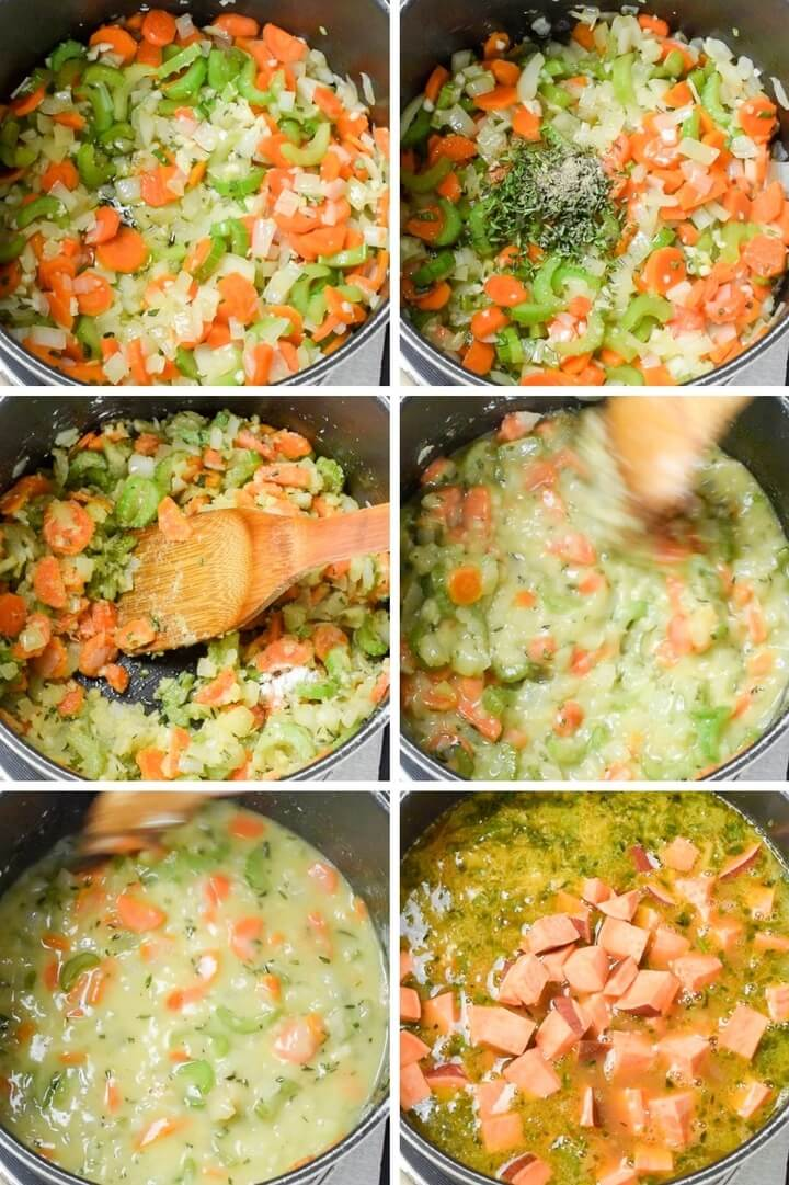 Steps for making vegetable stew: saute onions, carrots, and celery; add fresh herbs; add flour to make a roux; and slowly add liquid and remaining vegetables