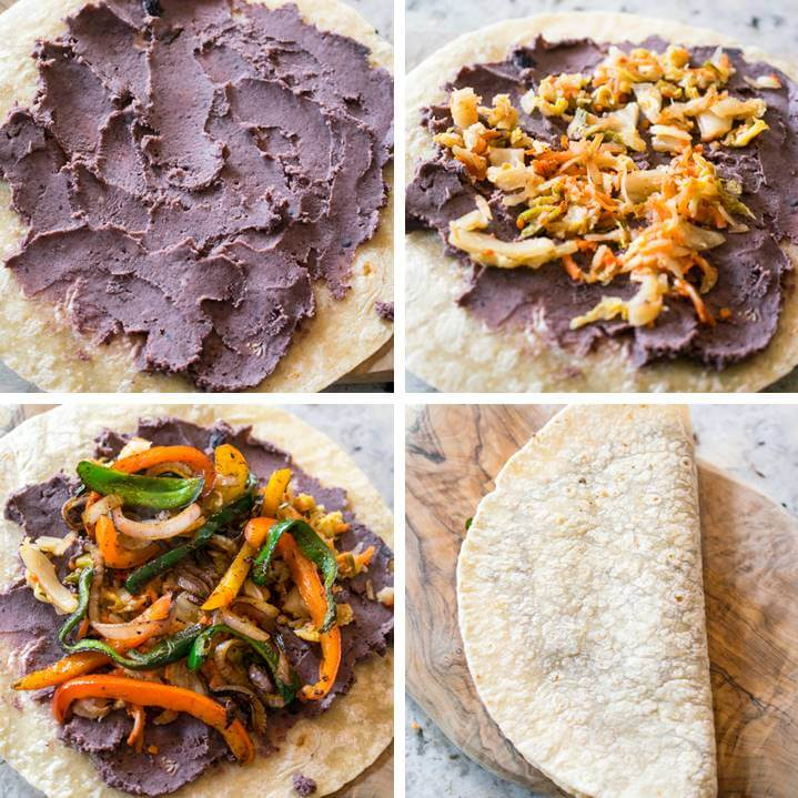 Steps for assembling kimchi quesadillas: spread refried beans on a tortillas, top with chopped kimchi, add cooked vegetables, and fold in half