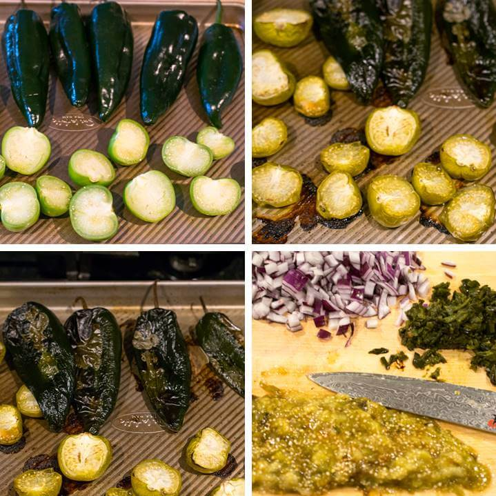 A collage showing the sliced tomatillos and poblano peppers before and after roasting, and then being deseeded and chopped.