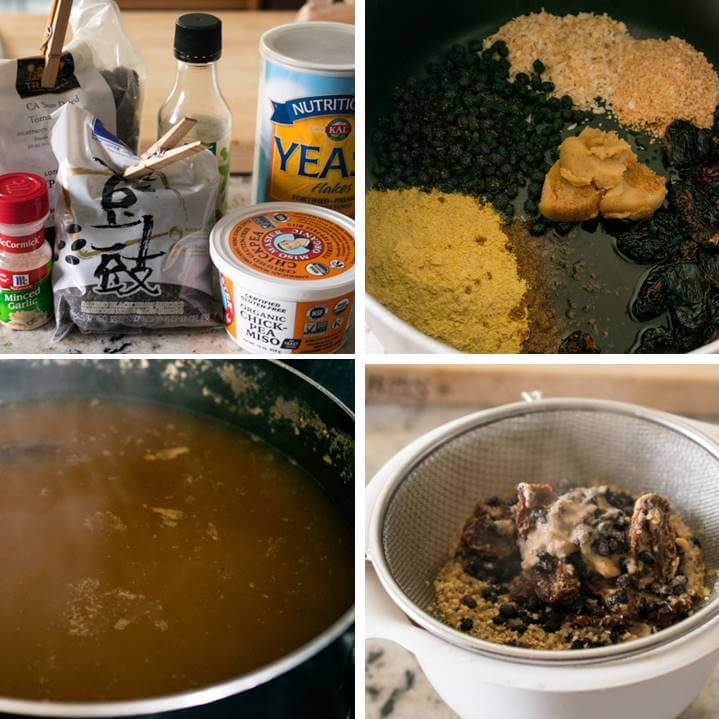 Steps to make vegan beef broth: simmer a variety of savory ingredients in water and then strain out the solids