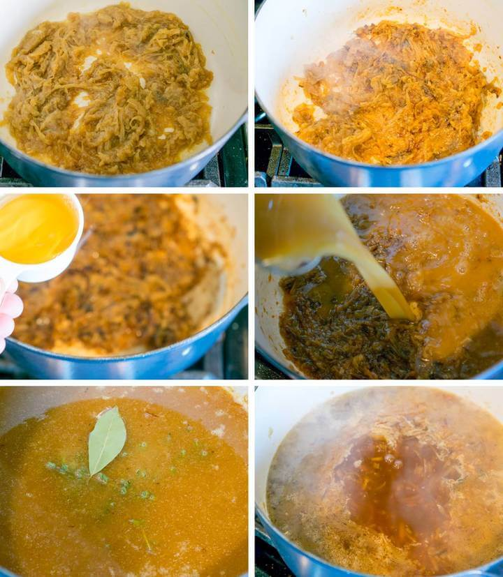 Steps for preparing vegan French onion soup: brown the caramelized onions, deglaze with dry sherry, add broth and simmer with aromatics